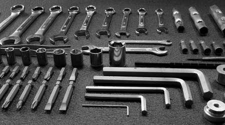 Hand tools kit on black background