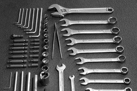 chrome vanadium: Hand tools kit on black background