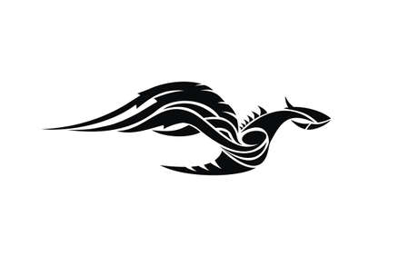 tribal style: Flying dragon tattoo design in tribal style Illustration