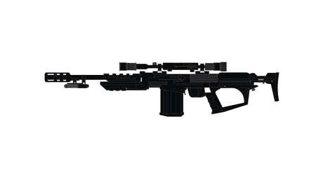 Futuristische rifle pistool met optische zicht en laser pointer design project