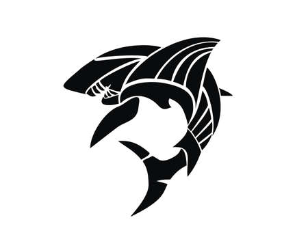 tribal style: Shark tattoo design in tribal style