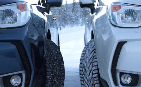 tire tread: Winter drive safety. Studded tires against non-studded tires