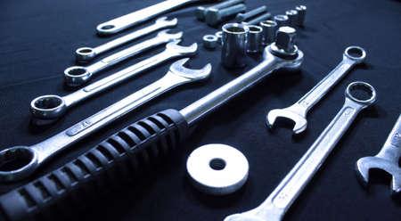 chrome vanadium: Set of hand tools studio isolated