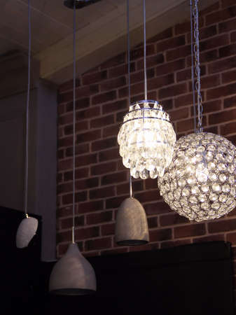 Ceiling pendant lamps at the lights store 免版税图像