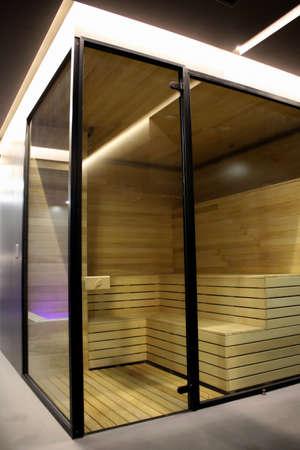 finland sauna: Finland sauna inside the glass cabin at the spa resort