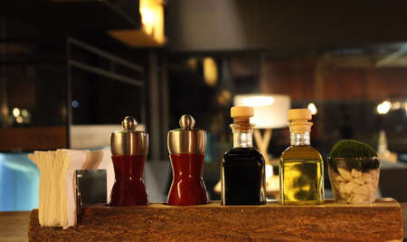 seasonings: Styling set of spices and seasonings on the restaurant table