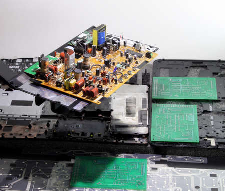 electronic board: Radio components on electronic board at electronics factory