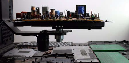 electronic board: Electronic board with radio components at electronics plant conveyor