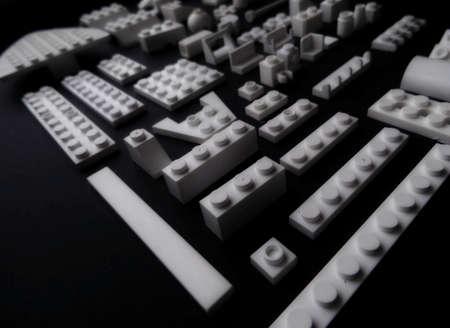 interlocking: Interlocking plastic bricks of toy constructor closeup