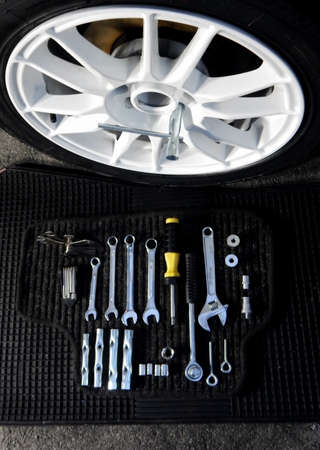 mounting: Wrenches, spanners and screw sockets for mounting wheel disk