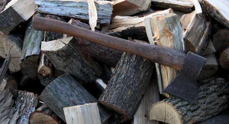 hatchet: Old axe handle hatchet on the chopped wood