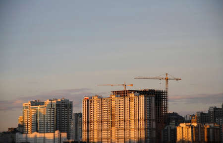 city scape: Constructing a new housing complex in modern city scape Stock Photo