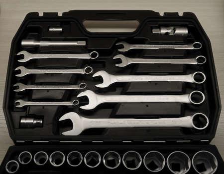 chrome vanadium: Set of spanners in black toolbox studio isolated