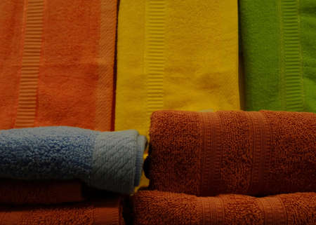 toweling: Colored terry towels folded stack stock photo Stock Photo