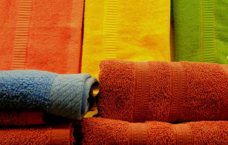 terry: Stacked Colored Terry Towels Stock Photo