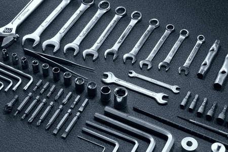 durable: Durable universal craftsman mechanics tools set Stock Photo