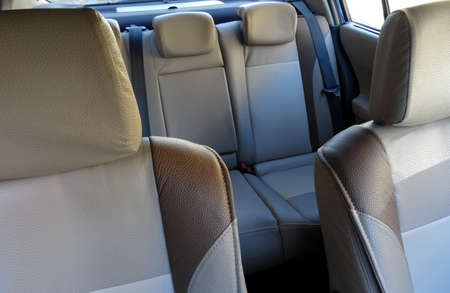 Rear seats headrests and lateral support on front seats inside car