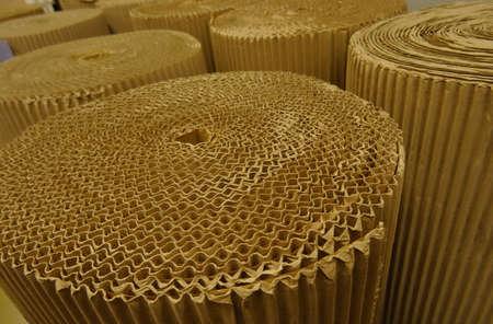 celulosa: Cellulose industry. Rolled corrugated cardboard at the paper shop Foto de archivo