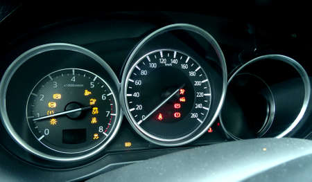 Dashboard in vehicle with digital indicators Stock Photo