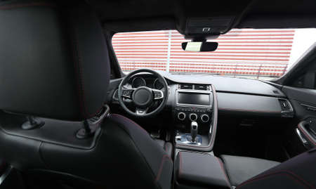 Upper view on the premium car interior with alcantara and leather upholstery Stockfoto