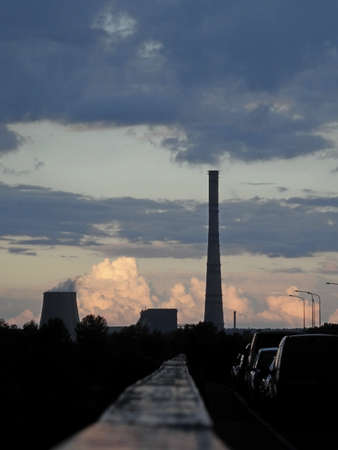 Chimney and cooling tower Stockfoto