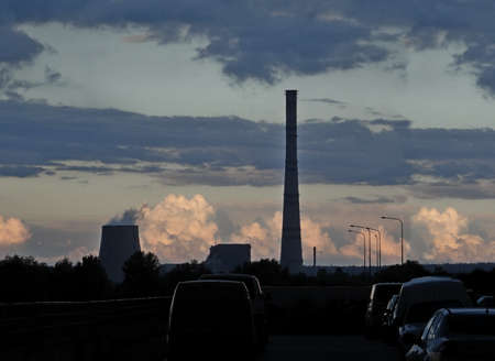Smokestack and cooling tower
