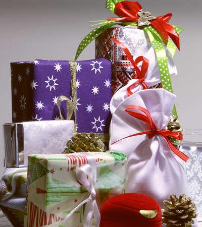 Christmas holiday gift wrapped boxes studio isolated Stockfoto