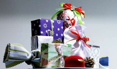 Variety gifts and presents in colored  wrapping paper detailed