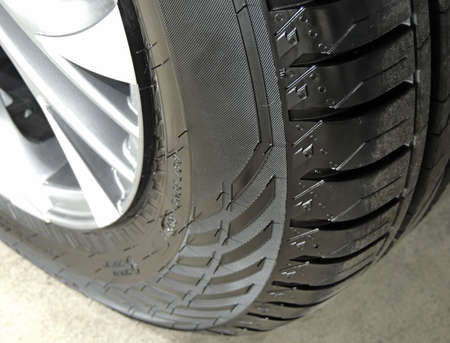 Car tire rubber parts after protection treatment  close up 免版税图像