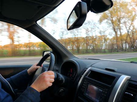 Steering wheel attitude Stockfoto