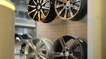 Alloy Car Rims On Display At Car Parts Shop
