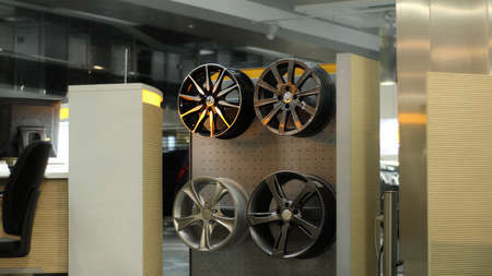 Wheel Rims On The Rack In Automobile Service Center