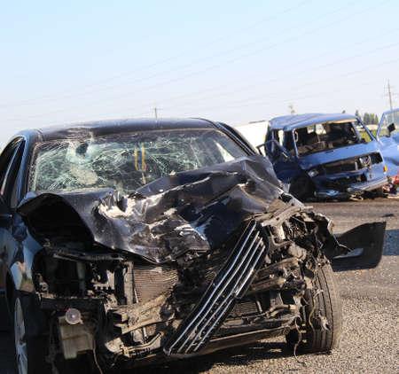 Broken Vehicles In Crash Accident On A Highway Stockfoto