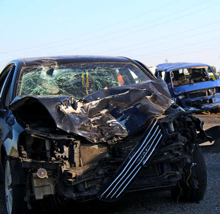 Two Cars Damaged In A Road Collision