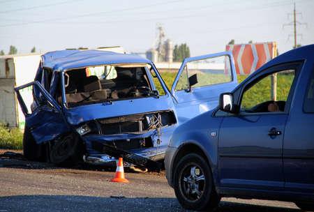 Restricted Highway After Car Crash Accident Stockfoto