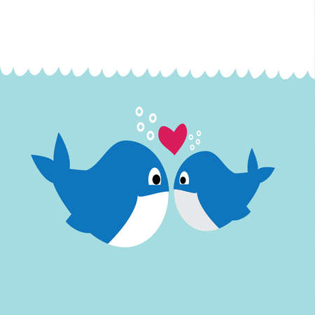 Illustration of Two Whales Swimming in the Ocean, Falling in Love Vector