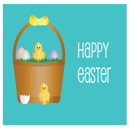 Easter Card with Hatchlings, Easter Basket and Easter Eggs Ilustração