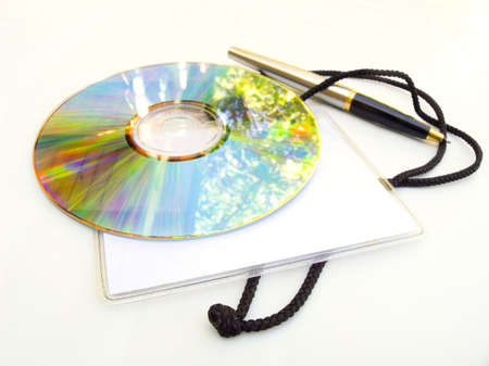 Attributes for work at an exhibition. In a disk the sky is reflected. Stock Photo