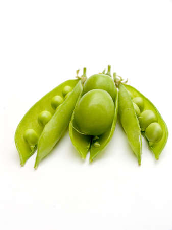 bean family: Two fruits plums in a pod of a green peas. On each side a green peas in a pod.
