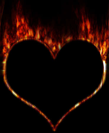 Burning fiery contour of heart on a black background