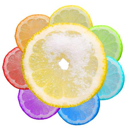 lemony: Multi-coloured segments of a lemon
