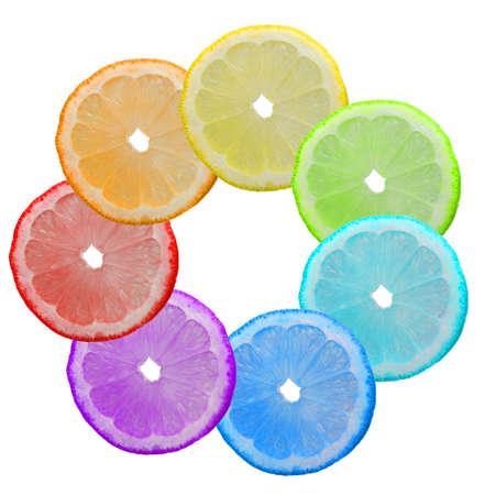 Multi-coloured segments of a lemon