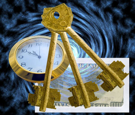 Hours, envelope with money and three old metal keys on an abstract background