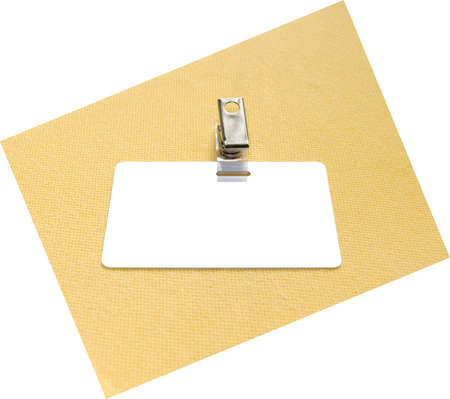 timecard: Badge on a yellow and white background