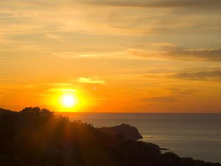 utopia: Sunrise above the sea. Bright paints.