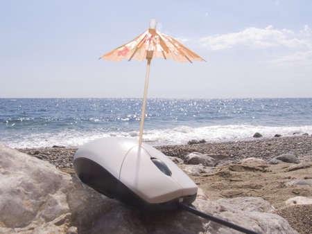 The computer mouse sunbathes on a sea beach. A joke