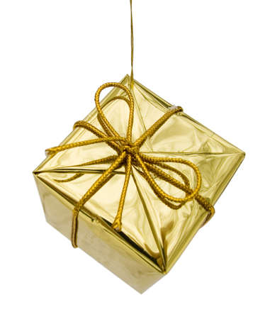 Gift to Christmas as a brilliant box on a white isolated background