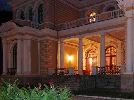 Ancient private residence at night with light