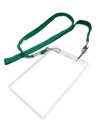 Badge with a white place of a copy. Isolated on a white background. Green cord