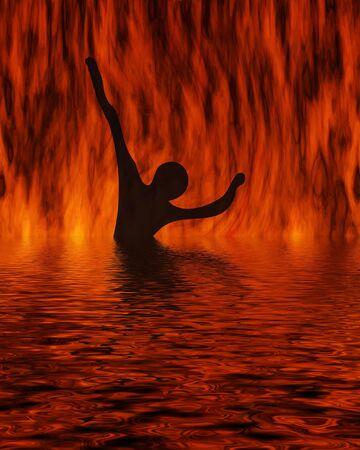 Silhouette of the girl bathing in the fiery sea  Stockfoto